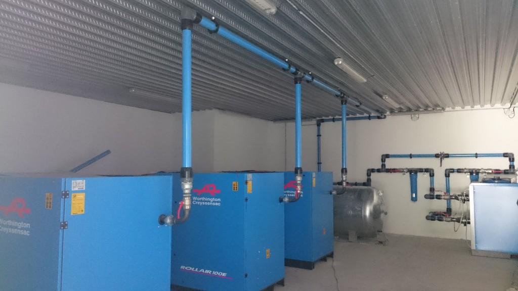 Installation compresseur d'air comprimé avec AIRnet diamètre 80 mm
