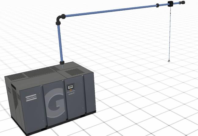 réseau d'air comprimé en diamètre 100 mm réalisé avec AIRnet Planner